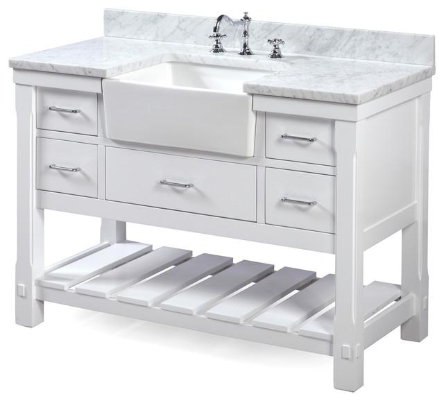 "Charlotte Single-Sink Bathroom Vanity, White With Carrara Marble, 48""."