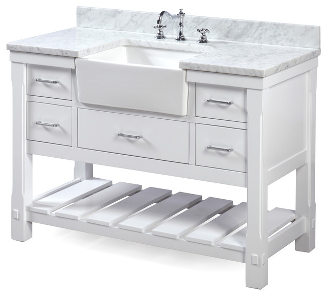 "Charlotte Bathroom Vanity, White, 48"", Carrara Marble Top, Single Sink"