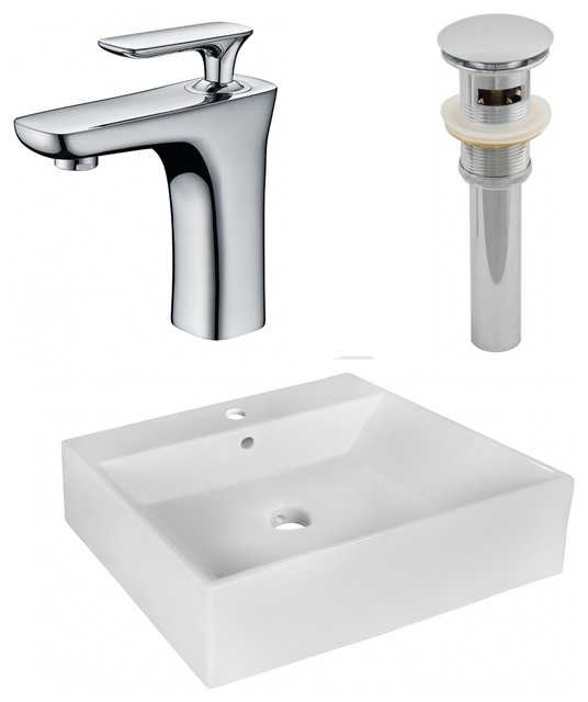 Above Counter Vessel Set For 1-Hole Center Faucet, White, 20.5.