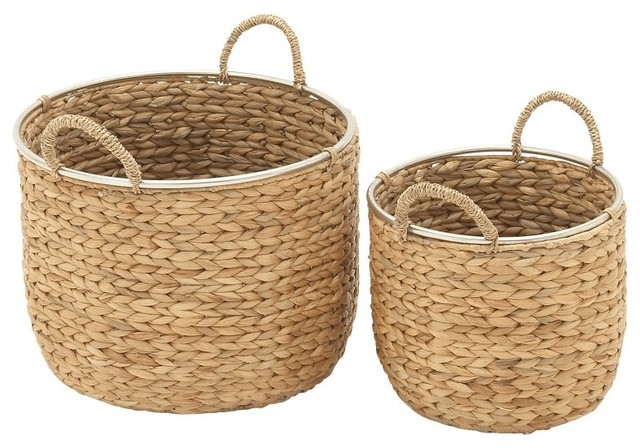 Seagrass Basket 2 Piece Set Beach Style Baskets By Benzara Woodland Imprts The Urban Port