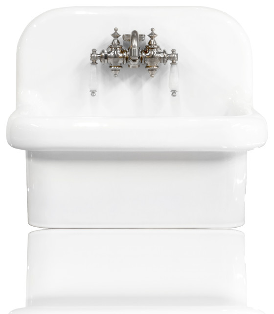 New Small Wall Mount High Back Sink Deep Basin Porcelain Package White Chrome