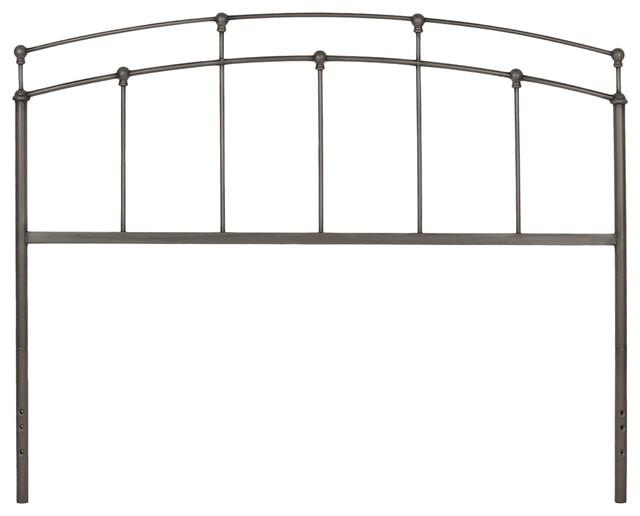 Fenton Headboard Panel With Globe Finials Black Walnut Finish, Queen.