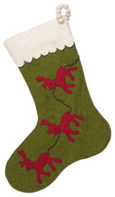 reindeer christmas stocking in green