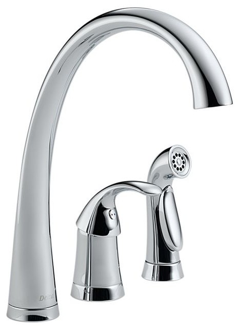 Delta Pilar Single Handle Kitchen Faucet With Spray And Soap Dispenser.