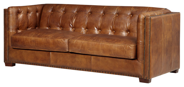 Top Grain Vintage Leather Tuxedo Sofa