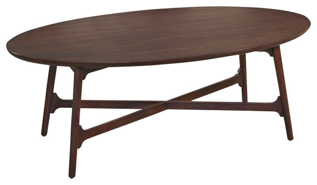 Wonderful Hammary Mila Oval Cocktail Table In Burnished Copper Midcentury Coffee  Tables