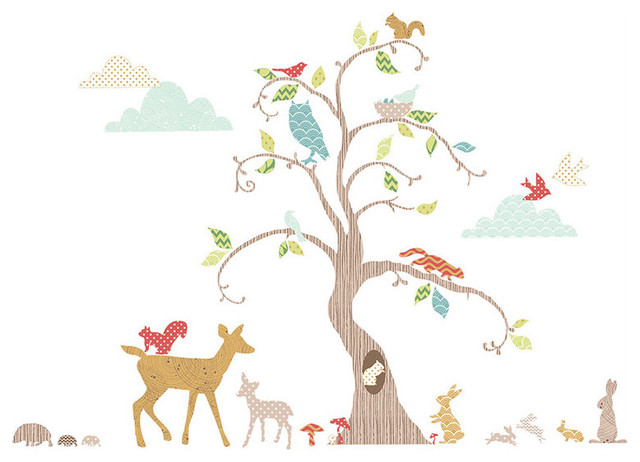 Woodland Tree Wall Decal Nursery Decor Kit, Contemporary Wall Decals Part 58
