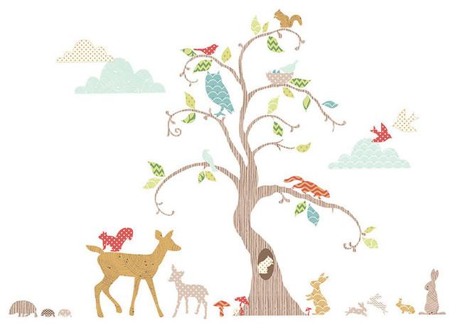 Woodland Tree Wall Decal Nursery Decor Kit Contemporary Wall