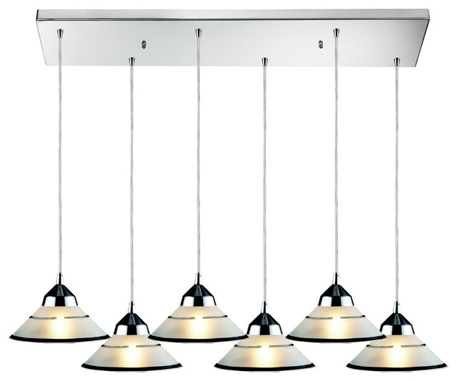 Refraction 6 Light Pendant Polished Chrome Transitional
