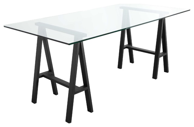 Brady Desk, Black Frame/clear Top.