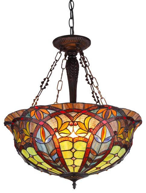 Lori 3-Light Victorian Inverted Ceiling Pendant Fixture.