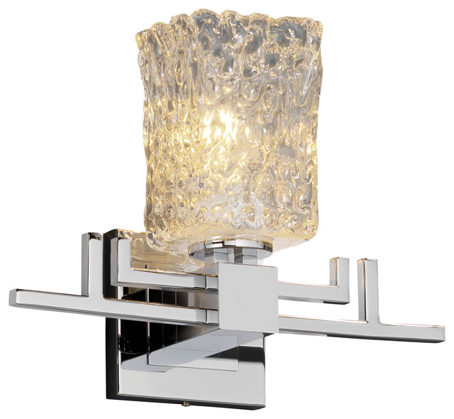Veneto Luce Aero Wall Sconce, Square With Rippled Rim, Clear Textured Glass