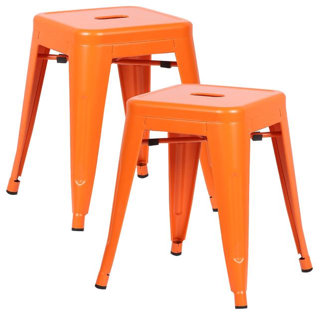 Sensational Poly And Bark Trattoria 18 Stool Set Of 2 Orange Bralicious Painted Fabric Chair Ideas Braliciousco