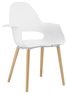 Modern Contemporary Dining Armchair, White Plastic