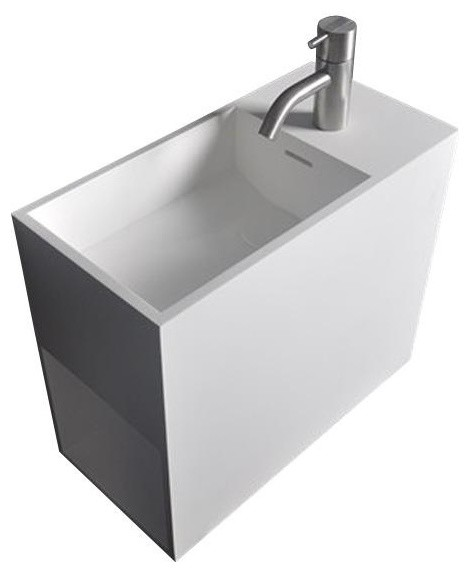 Solidball 18 In. Wall Vanity Washbasin With Storage Solid Surface No Faucet Hole.
