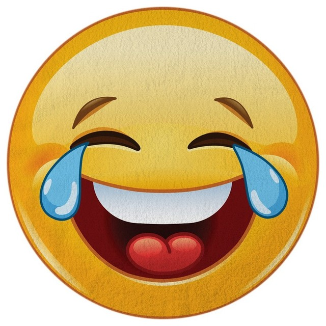 Crying-Laughing Emoji Round Beach Towel.
