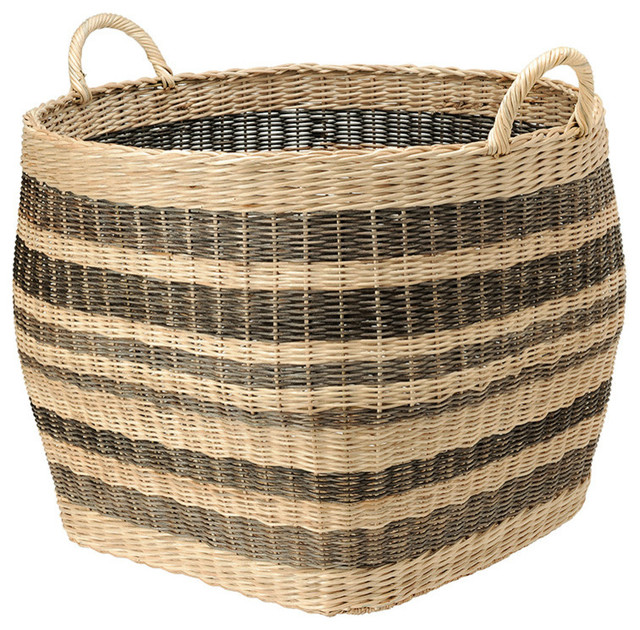 Beau Large Striped Wicker Storage Basket