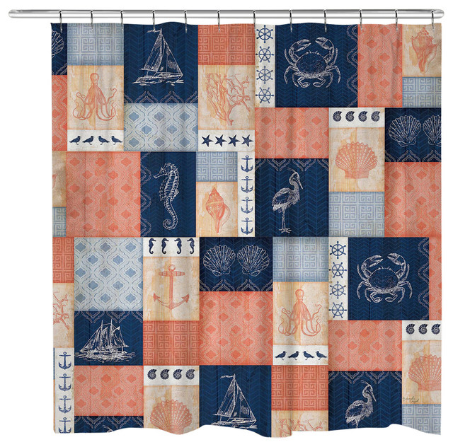 Coral and Navy Coastal Shower Curtain - Beach Style - Shower ...