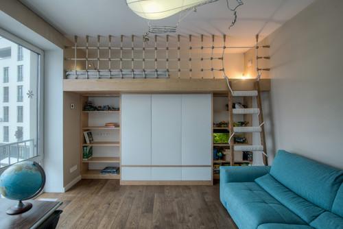 Дизайн подпорной балки посреди комнаты
