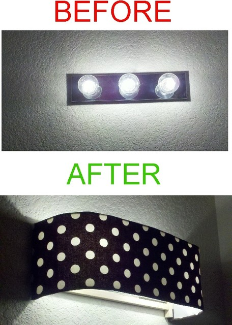 Custom Lampshade  Before After Bathroom Vanity contemporary lamp shades