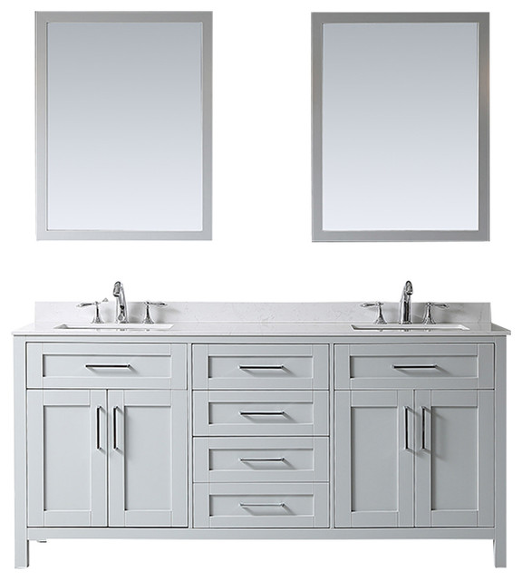 """Tahoe Double Vanity Set With Mirrors, 72"""", Dove Gray With Yves Marble Top"""