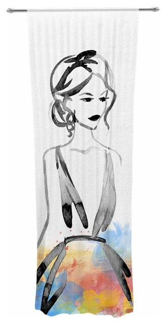"""multi-Color Model"" Black Pastel People Watercolor Decorative Sheer Curtain."