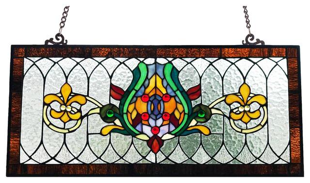 30 Fleur De Lis Stained Gl Pub Window Panel Victorian Panels By River Of Goods