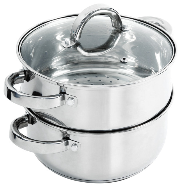 Oster Hali 3-Piece Stainless Steel Steamer Set With Lid.