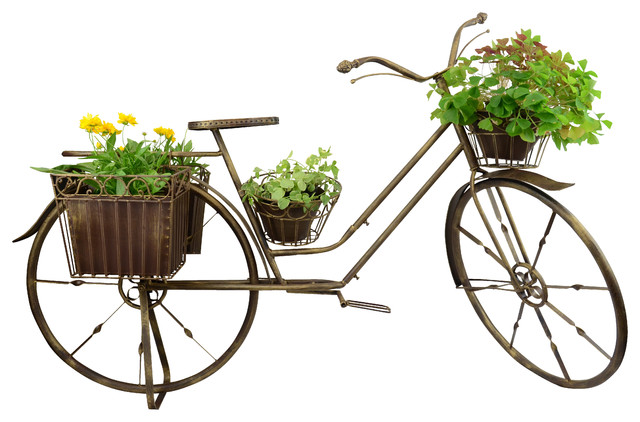 Shop houzz red carpet studios garden decor bronze bicycle plant stands and telephone tables - Bicycle planter stand ...
