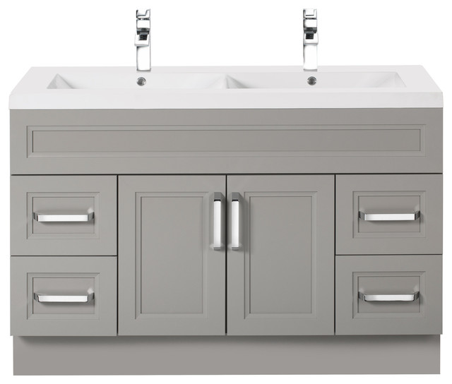 Bathroom Sinks Double Basin daybreak 48'' contemporary vanity 2 door 4 drawers with double