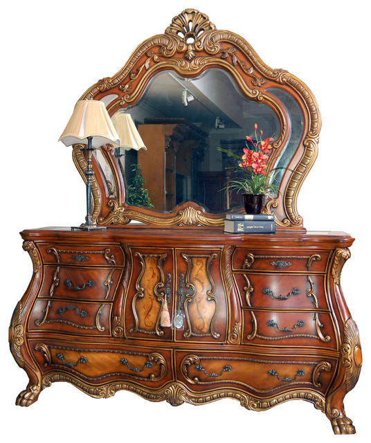 Ornate French Rococo Dresser And Mirror.