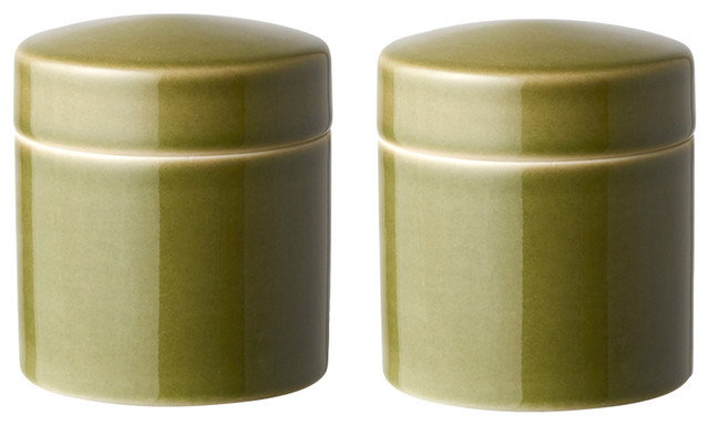 Small Kitchen Canisters, Olive, Set of 2