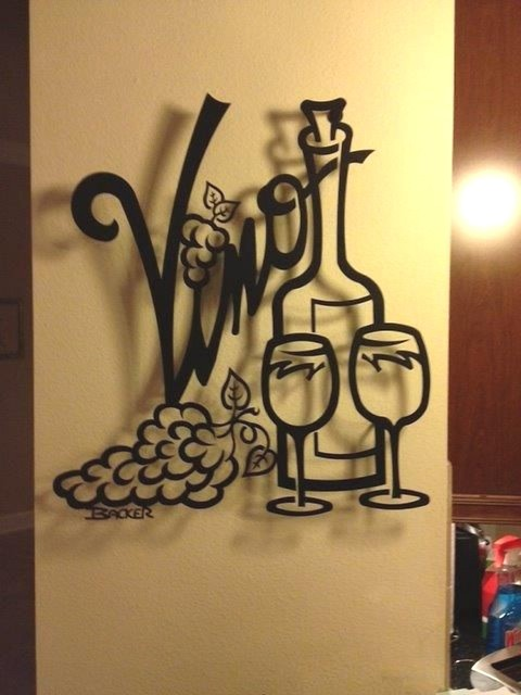 Vino For Two Metal Wall Art Home Decor