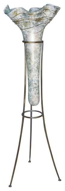 Couleur Nature Moon Dance Glass Cone Vase With Iron Stand