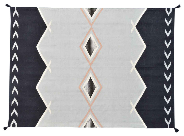 Reversible Navajo Design Rug, 6X9 Hand Woven Multicolored 100% Wool Rug