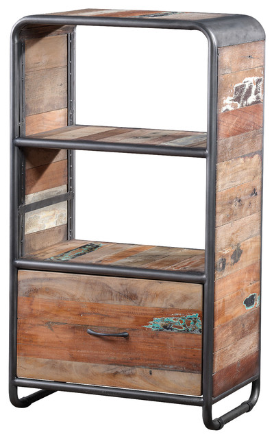 Recycled boat wood cabinet industrial accent chests for Boat kitchen cabinets