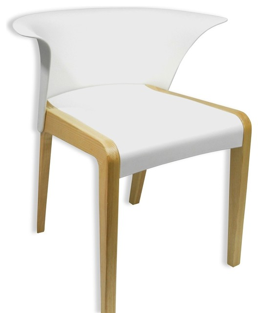 Nun modern white plastic seat ash natural wood legs chair for White plastic kitchen chairs