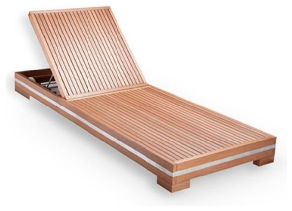 WEALTH Modern Sumpar Wood Outdoor Lounger Natural Wood Contemporary Outd
