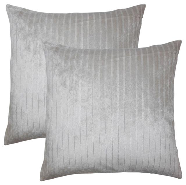 Maaike Striped Throw Pillows, Set Of 2, Silver.