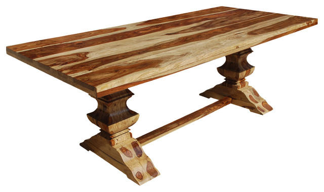 dallas double pedestal trestle solid wood dining table