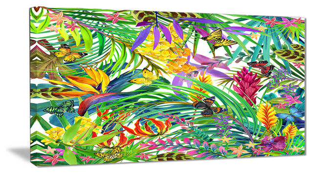 """""""tropical Leaves And Flowers"""" Floral Canvas Artwork, 40""""x20""""."""