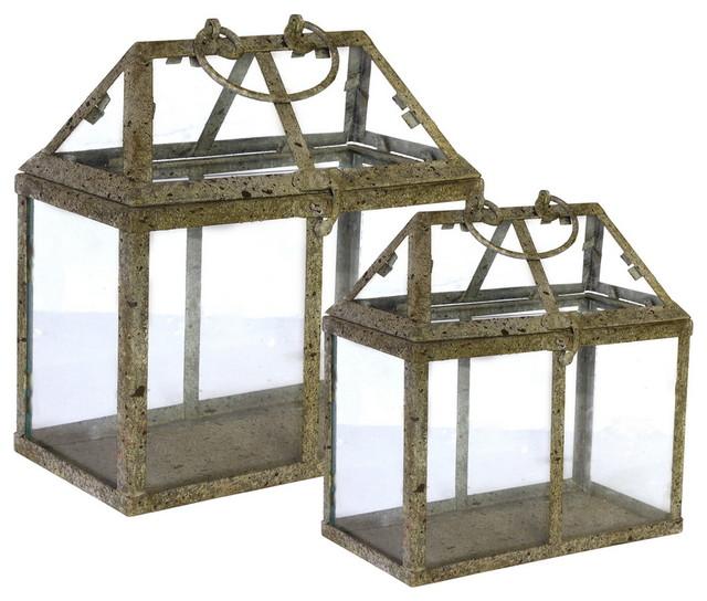 Glass Storage Boxes, Set Of 2.