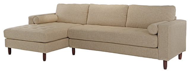 Modern Mid Century Fabric Sofa, L-Shape Sectional With Chaise Lounge, Beige.