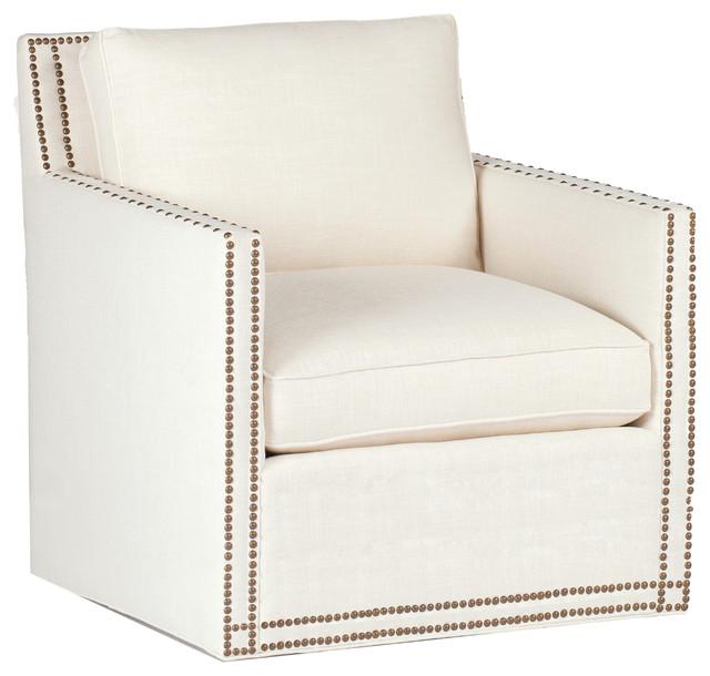Gabby Carter Track Arm Swivel Chair, Cream Zulu Vanilla