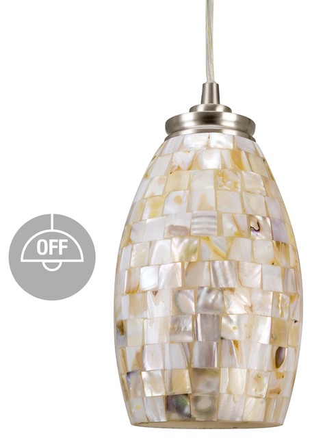 "Kira Home Coast 9"" Pendant Light + Hand-Crafted Mosaic Shell Glass, Satin Nickel."