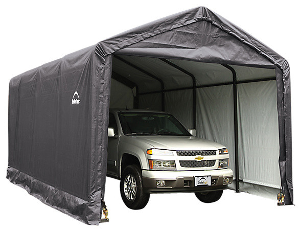 Sheltertube Peak Style Garage/shelter, Gray, 12x30x11&x27;.
