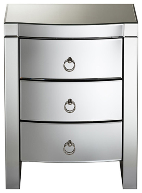 Mirrored Bedside Table With Drawers: Florence Hollywood Regency Glamour Style Mirrored 3-Drawer