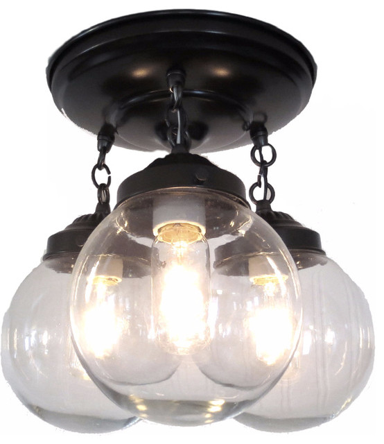 Bronze Ceiling Lights: Clear Globe Ceiling Light, Oil Rubbed Bronze traditional-flush-mount-ceiling -,Lighting