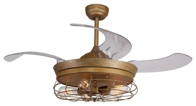 Reversible Industrial Ceiling Fan, Retractable Blades, Remote Control