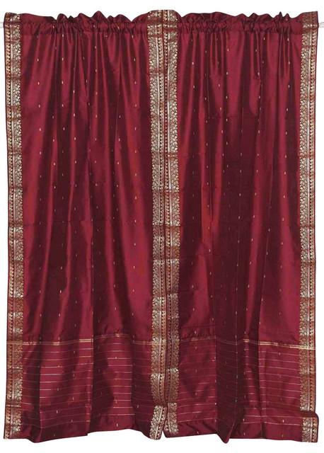 Maroon Rod Pocket Sheer Sari Curtain, Drape And Panel, Pair, 60x120, No Lining.